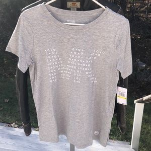 Michael Kors pearl heather basics logo SS tee- M